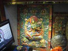 Tibet Temple Wood Carved Painted Green Tara Kwan-Yin  Bodhisattva TangKa Screen
