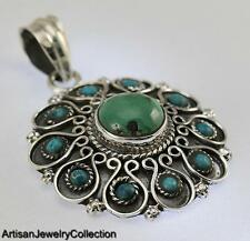 TURQUOISE PENDANT 925 STERLING SILVER ARTISAN JEWELRY COLLECTION R583A
