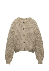 zara jacquard Button Cardigan Size Medium BNWT