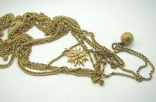 Vintage MONET GOLD TONE Multi-Strand Chain Necklace SUNBURST & BALL PENDANTS [B