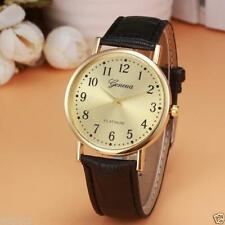 Ladies Fashion Gold Geneva Quartz Platinum Gold Faced Black Band Wrist Watch.