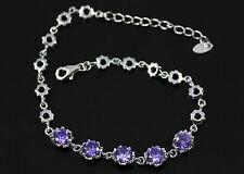 Pretty Purple Amethyst, Solid 925 Sterling Silver Bracelet / Bangle + box