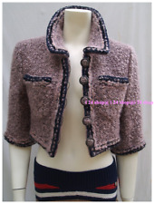 CHANEL 14A NEW $5.7K  PARIS-DALLAS MAUVE BLACK FANTASY TWEED BLAZER JACKET- F36