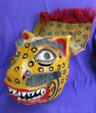 Mexican Folk Art Vintage Danced Leather Jaguar Mask With Animal Hide & Fabric
