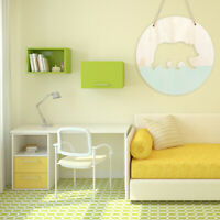 AU_ 20cm Chic Round Wooden Bear Wall Hanging Ornament Kids Bedroom Photography P