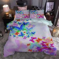 Fluorescent butterfly 3D Print Duvet Quilt Doona Covers Pillow Case Bedding Sets