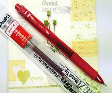 5 pens 10 refills Pentel Ener Gel BL-107 roller ball pen & LR7 refill RED ink