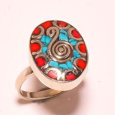 Red Coral Tibetan Turquoise Gemstone Jewelry Adjustable Nepali Ring USA-5964