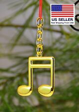 Music Keychain, Double Eighth, Gold