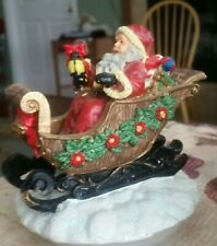 Santa Candle Topper - Christmas Holiday Decor for large candle jar 4in round