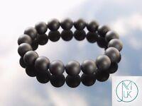 Black Onyx Matte 10mm Natural Gemstone Bracelet 6-9'' Elasticated Healing Stone