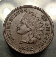 Almost uncirculated AU brown details 1882 bronze indian head cent 1C penny coin