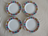 Deruta Pottery Italy Villagio-Multi-Color Geometric- Set of 4 Dinner Plates