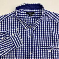 Structure Button Up Shirt Mens XXL Blue White Check Long Sleeve Casual