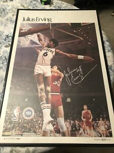 Dr J Philadelphia 76ers - Vintage Rare 1977 S.I. Poster Framed