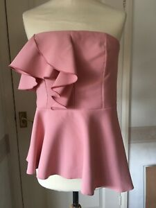 River Island strapless top Bandeau flared peplum Pink 12 Party cocktail