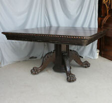 "Antique 54"" Square Oak Dining Table – 6 Original leaves - Claw Feet Base"