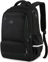 """Matein Black 15.6"""" Student Laptop Backpack Waterproof Travel School Bag"""