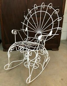 Vintage Twisted Wrought Iron Peacock Rocking Chair Rocker Child Size white