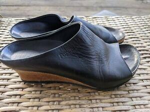 Papillio Birkenstock Debby Black Leather Cork Wedge Heels Sandals Women's 39 N
