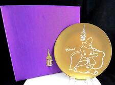 """PATRA NIKKO SPECIAL EDITION GOLD ENAMEL ELEPHANT PLAYING HORN 8"""" PLATE & BOX"""
