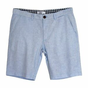 New Mens Linen Blend Shorts Regular Fit Blue Aqua Size 31 32 33 34 35 36
