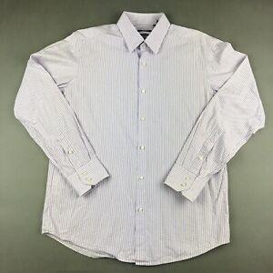 Hugo Boss Purple White Stripe Long Sleeve Button Up Dress Shirt 42 16 1/2