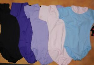 Short Sleeve Leotard EUROTARD Fully Front Lined 5 Color Choices Child Sz NWT