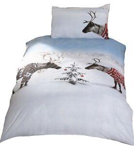 Bedding Heaven® Reindeers in Jumpers Christmas Tree Duvet Cover. Double Bed.
