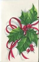 VINTAGE CHRISTMAS BOTANICAL AMERICAN HOLLY BERRIES LEAVES LITHOGRAPH CARD PRINT