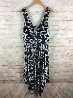 Soma Brown Cream Soft Jersey Sleeveless Animal Print Dress Size XL NEW