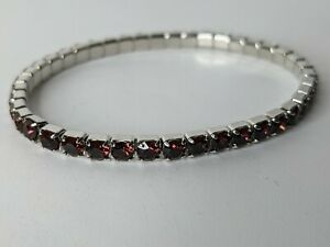 Swarovski Women's Lightning Stretch Tennis Bracelet Burgundy Crystals 5107163