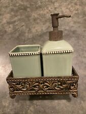 Vintage Sage Green Liquid Soap Lotion Dispenser and Cup In Metal Rack