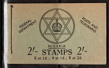 NIGERIA 1957 - 2/- Booklet SB8 with 2d Type A stamps - Faded covers as photo