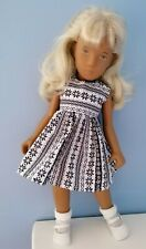 BJB Vintage Sasha doll clothes, Pretty navy blue and white scandi pattern dress