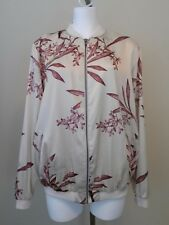 NWT Maternity A GLOW Cream Floral Zip Front Satin Bomber Jacket Size Large $80
