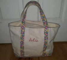 LL BEAN Boat & Tote Canvas Bag natural pink Floral Trim monogram JULIA zippered