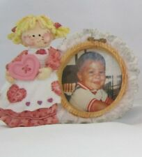 Enesco Figurine By Mary Rhyner Cute As A Button Round Shape Photo Picture Frame