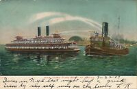 NEW YORK CITY – New York Fire Boat at Drill – udb – 1907