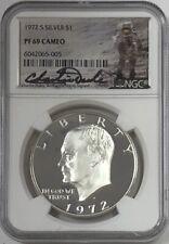1972 S Eisenhower Ike Silver Dollar NGC PF69 Cameo Charlie Duke Signed