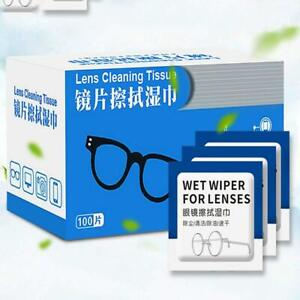 100 Pcs Glasses Cleaner Wet Wipes Cleaning Lens Disposable Anti Fog  New AU.