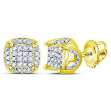 Clearance 10k Solid Gold, Round Natural Diamond Cluster Stud Earrings .20 Carat
