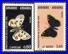 ANDORRA FRANCE 1976 BUTTERFLIES SC#251-52 MNH CV$7.00  INSECTS