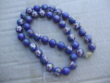 Vintage Cloisonne Enamel Large Beads Beaded Cobalt Blue Necklace 25 inches Long