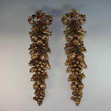 Set Gilded Vintage Syroco Wood Ornaments
