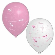 6pk Pink & White Christening Baptism Baby Balloons Party Room Decoration