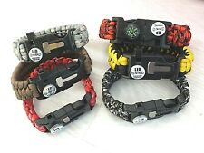 2 CAMPING HIKING EMERGENCY EQUIPMENT SURVIVAL BRACELET 5 FUNCTION PARACORD E5