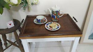 Vintage Antique Wooden Oak Serving Tray Turned Handles  57x41cm