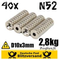 40x Neodym Magnet D10x3mm mit Bohrung 2,8kg Scheibe  Werkstatt halten befestigen