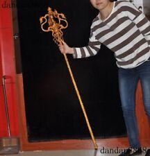 "54""Huge Tibet bronze 24k gold Dragon Head Sakyamuni Wand Dorje Vajra Phurpa FaQi"